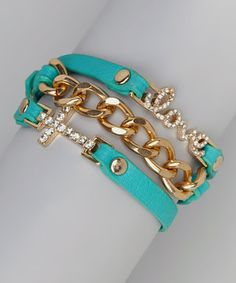 Look at this #zulilyfind! Turquoise & Gold Wrap Bracelet by Mica #zulilyfinds