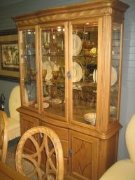 Price: $549.95 Item #: 123519 Two Piece China Cabinet In Oak. Measures 59.5