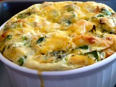 Spinach, Egg Strata --About to try n make this for Hubby!! Wish me luck :))