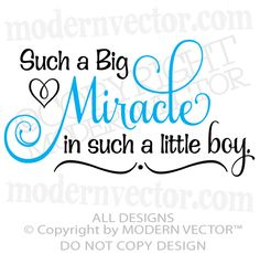 Big Miracle in A Little Boy Quote Vinyl Wall Decal Words Lettering Nursery Decor | eBay