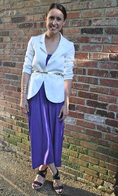 Skirt worn as a dress with a blazer belted