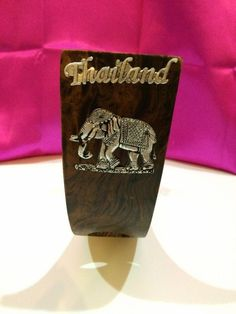 WINE BOTTLE WOOD&SILVER  HOLDER ELEPHANT THAI HANDCRAFT WOODEN NEW DESIGN #Unbranded