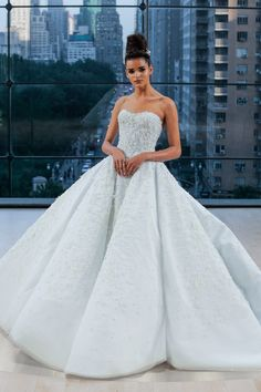 TIFFANY Encrusted off the shoulder sweetheart grand ball gown with natural waist and extended cathedral train.