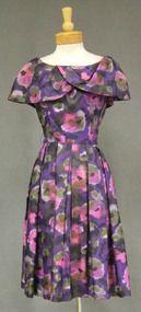 Vibrant Gigi Young Purple Floral Silk 1960's Dress