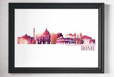 Minimalist city print. Rome, bright and colourful cityscape print - many more cities and states are available in my store.  Lots more Travel and City prints are available here: www.etsy.com/uk/shop/NordicDesignHouse?section_id=19806341  Most of my prints are now available for you to print at home in my other shop here: www.etsy.com/uk/shop/NordicDesignHouseCo   MY PRINTS  Prints are produced on a professional Canon printer using Canon dye based inks and a 6...