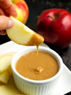 2-ingredient Vegan Caramel Dip.  This dip is SO easy and addicting! The perfect healthy after-school snack recipe.  We love it with an apple slice, but it's great with a variety of fruits.