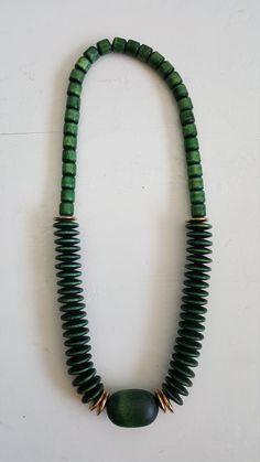 Finnish Aarikka Green necklace from Metal Beads, Wooden Beads, Green Necklace, Beaded Necklace, Wooden Crosses, Rubber Bands, Wooden Jewelry, Etsy, Beaded Collar