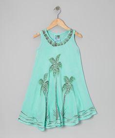 Sea Green Palm Tree Dress - Toddler & Girls