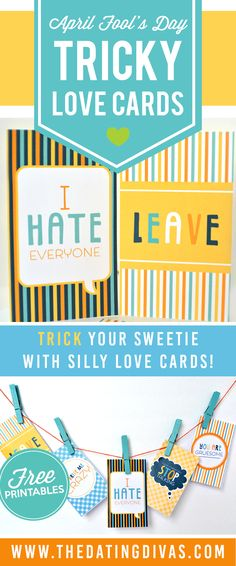 I LOVE these cute cards for April Fools' Day! They have me laughing and I'm sure my sweetie will get a crack out of them as well! www.TheDatingDivas.com