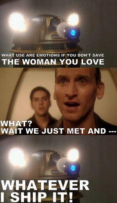 Dalek ships it, and so do I! #ninthdoctor #rosetyler #doctorwho