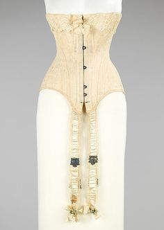 (attributed) Lord and Taylor (American, founded Wedding corset, ca. The Metropolitan Museum of Art, New York. Brooklyn Museum Costume Collection Gift of Elizabeth B. Vintage Corset, Vintage Lingerie, Vintage Dresses, Vintage Outfits, Vintage Clothing, 1900s Fashion, Edwardian Fashion, Vintage Fashion, Edwardian Era