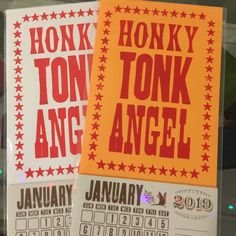1 Honky Tonk Angel Mini 2020 Calendar Hand Printed Letterpress, Choose White or Orange Paper, Kitty Wells, Loretta Lynn, Dolly Parton Pioneer House, Kitty Wells, Vintage Western Wear, Loretta Lynn, Orange Paper, Honky Tonk, Print Fonts, Calendar Pages, Letterpress Printing