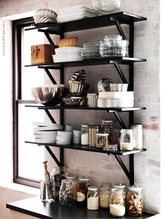 Black IKEA Ekby Valter Brackets (Black/birch color instead - microwave shelf above kitchen island cart)