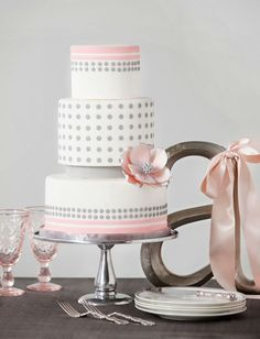 white, pink and gray wedding cake ~  we ❤ this! moncheribridals.com