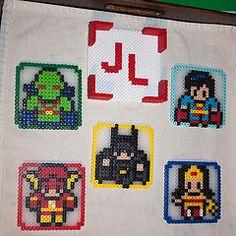 Justice League coaster set (kawaii_ninja) Tags: woman set wonder justice flash sprite superman pixel batman bead coaster hama league martian perler fuse jonn manhunter jonzz