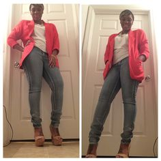 Blazer: Moms closet White tshirt: Wal-Mart Jeans: Wetseal Shoes: Justfab Jewelry: Charlotte Russe