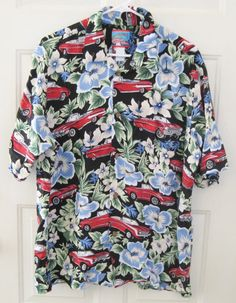 Reyn Spooner Joe Kealuhas Hawaiian Shirt Size Large Tropical Classic Cars Flower #JoeKealuhasbyReynSpooner #Hawaiian