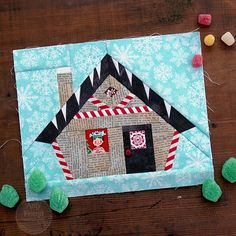 I've been wanting to design a gingerbread house block for awhile but it was difficult to decide how I wanted to draw it and what details were most important to me. I knew I wanted icing drip… House Quilt Patterns, House Quilt Block, House Quilts, Paper Piecing Patterns, Quilt Blocks, Christmas Sewing Projects, Christmas Crafts, Christmas Quilting, Christmas Collage