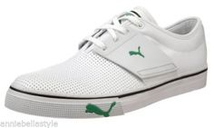 PUMA EL Ace L Sneakers Leather Perforated Low Shoes - White   Fern Green  SIZE 12 6bcad01c0