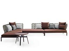 Canapé d'angle composable de jardin