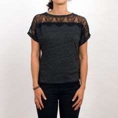 Adding lace to a t-shirt = genius! Gray and black jersey/cotton tee with lace detail.