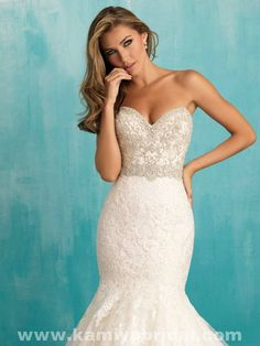 Only - $349.00 Allure 9305 Lace And Satin And Tulle Beading fashion bridal gown…