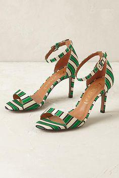 Emerald Striped Heels