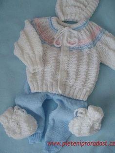 Soupravička pro novorozené miminko Crochet For Boys, Baby Knitting Patterns, New Baby Products, Free Pattern, Sweaters, Kids, Clothes, Fashion, Knit Jacket