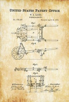 Wheelbarrows Patent Print - Decor Home Decor Patent Print Wheelbarrows Patent  Wheelbarrows Blueprint Garden Decor by PatentsAsPrints