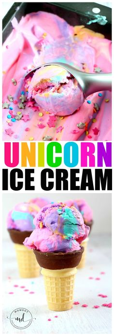 Unicorn Ice Cream Recipe: No Churn Rainbow ice cream - be ready today! Unicorn Ice Cream Recipe: No Churn Rainbow ice cream - be ready today! Köstliche Desserts, Frozen Desserts, Frozen Treats, Dessert Recipes, Lunch Recipes, No Churn Ice Cream, Make Ice Cream, Homemade Ice Cream, Ice Cream Kids