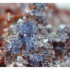 Nickenich, Andernach, Mayen-Koblenz, Rhineland-Palatinate, Germany - Pale blue clusters of columnar crystals in the cavities. Rhineland Palatinate, Cavities, Minerals, Germany, Crystals, Blue, Group, Crystals Minerals, Rhinestones