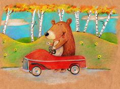 Pedal Cart Bear.   Colored pencil