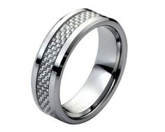 Tungsten Carbide with Grey Carbon Fiber Inlay Low by CustomBands, $43.99