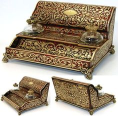Antique French tortoise shell boulle writer's stand with stationery storage chest and double inkwells, c. 1840-60 by famed cabinetry maker, TAULIN, and notation of boutique in the Palais Royal of Paris. Double click on photo for more information.  Photo credit: Antiques & Uncommon Treasure