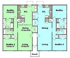 Duplex plan PlanSource, Inc Barn House Plans, Dream House Plans, Cabin Plans, Small House Plans, Duplex Floor Plans, Apartment Floor Plans, House Floor Plans, Flat Plan, Duplex Design