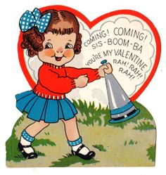 CHEERLEADER WITH MEGAPHONE CHEERS SIS-BOOM-BA RAH! RAH! / VINTAGE VALENTINE CARD