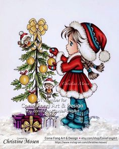 Copic coloring with Conie Fong image - Sallys Christmas Friends Copic, Namaste, Coloring, Friends, Christmas, Image, Design, Art, Yule