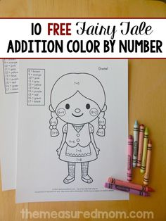 Get this set of 10 FREE color by number addition worksheets! They feature ten adorable fairy tale characters.