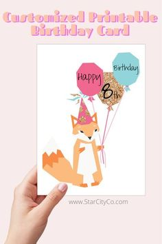 Happy {age} Birthday! Customize the year in the middle balloon! A cheerful rendering of a party hat-decked fox holding happy birthday balloons. #printables #greetingcards #birthdaycards #foxbirthday #personalizedgift