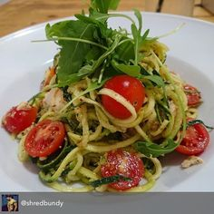Courgette pasta with chicken pesto parmesan chilli tomatoes chilli oil and basil.  Repost from @shredbundy - Fix me  @the_skinny_kitchen  #eatcleanravedirty #lowcarb #nocarbs #healthy #lean #clean #fit #gym #gymfood #macros #protein #ibiza2016 #ibizabody #summerbody #gains by the_skinny_kitchen
