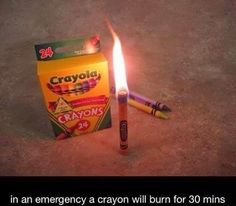 Crayons Burn For 30 Minutes Like Candles In A Black Out Emergency