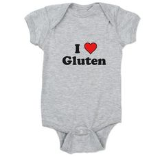 I Heart Gluten #love #heart #gluten #funny #humor #geek #baby #bodysuit #onesie