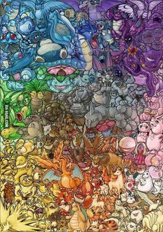 OMG this took me about 30 hours I swear. x__x The original 151 pokemon in rainbow order. Because everything is better in rainbow order. I hope you like . Pokemon Life, 150 Pokemon, Pokemon Comics, Pokemon Fan Art, Pokemon Fusion, Cool Pokemon Wallpapers, Pokemon Backgrounds, Cute Pokemon Wallpaper, Fotos Do Pokemon