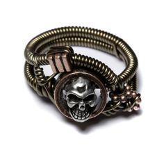 Steampunk Jewellery skull ring by *CatherinetteRings on deviantART