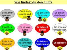 Wie findest du den Film? Perfect to use with Deutsch Aktuell 1, Kapitel 9
