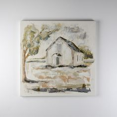 Sarah+Robertson+Chapel+On+Rock+Creek+II+Painting+-+In+a+beautiful+interpretation+of+both+southern+and+saving+grace,+Sarah+Robertson's+study+in+church+landscapes+make+meaningful+accents+to+any+home  30H+x+30W+x+1.5D  Light+construction,+most+of+her+paintings+can+hang+straight+with+a+single+anchored+nail  Learn+more+about+the+art+and+life+of+Sarah+on+our+blog…