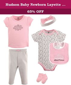 Hudson Baby Newborn Layette Clothing 6-Piece Set, Girl Princess, 6-9 Months. Hudson Baby is a premium baby basics brand featuring stylish clothing, giftsets, bath and bedding baby essentials. Hudson Baby Newborn Layette Clothing 6-Piece Set features a bodysuit, tee top, pant, bib, hair accessory (caps for boys and headbands for girls), and socks. Our 6-Piece set offers moms a combination of adorable outfits to dress her newborn. Made of 100% cotton except bibs, socks and headbands.