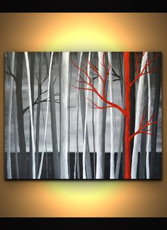 Black red white abstract trees painting modern wall by ZarasShop