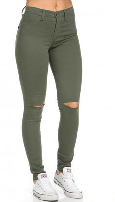 High Waisted Knee Slit Jeans in Olive