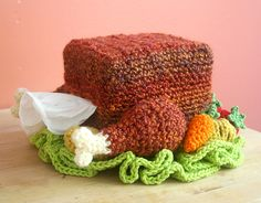 Free #Crochet Pattern: Turkey Tissue Box Cozy with Roasted Veggies by @Beverly Galliers Chan